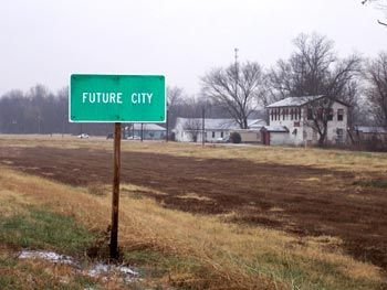 'Future City' sign in countryside